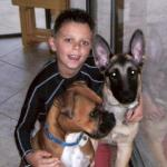 Zues with his boy and his best dog friend Kera  Libby and Jerry Lee puppy